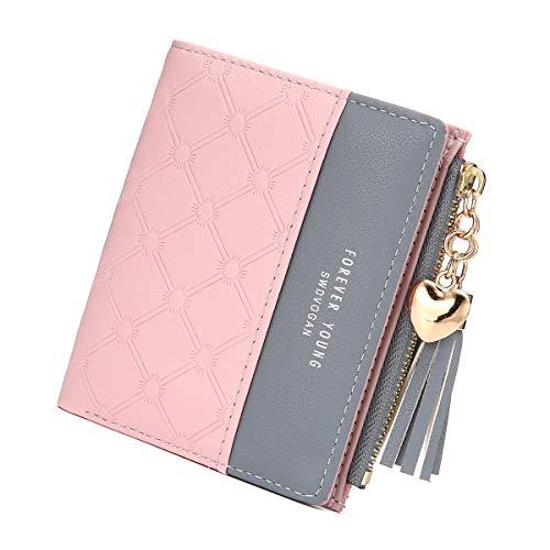 tel, Quaste PU Leder Portemonnaie Multi Slots Kleine Brieftasche Schlanke Kartenhalter Geldbörse Für Frauen Pink ()