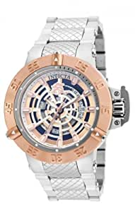 Invicta Subaqua Men's Quartz Watch with Rose Gold Dial  Analogue display on Silver Stainless Steel Bracelet 16045