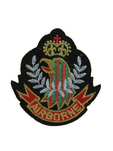 2Stück Airborne Wappen Emblem Eisen auf Patch Bestickt Biker Motiv Aufnäher der heraldischen Luftwaffe Eagle Aufkleber 7,6x 7,4cm (7,5x 7,3cm) Airborne Emblem