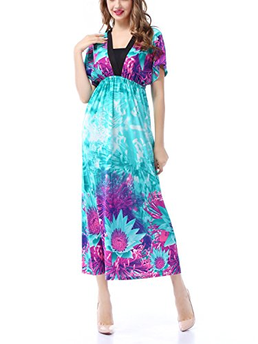Aivtalk Damen Kleid Sommerkleid Retro Blumendruck Maxikleid Strandkleid V-Ausschnitt Kleid Wählbare Größe Blau