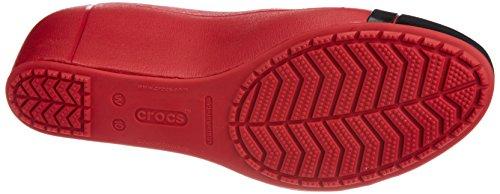 Crocs Cap Toe Wedge, Damen Pumps Dark Red/Black