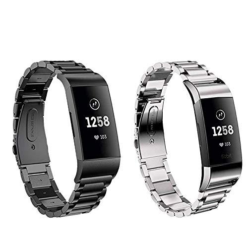 Aimtel kompatibel Fitbit Charge 3/Charge 3 SE Armband,Solid Edelstahl Metall Ersatzarmband Uhrenarmbänder kompatibel Fitbit Charge 3 Fitness-Tracker(Schwarz+Silber)