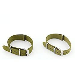 Owfeel Pack of 2pcs Couple Military green Nylon Watch Band Strap Replacement Watch Belt 22mm 18mm