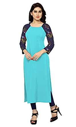 Ziyaa Women's Straight Fit Synthetic Kurta (ZIKUCR432-L-turquoise-L)