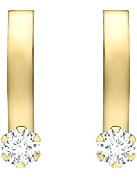 Carissima Gold Women's 9 ct Yellow Gold Cubic Zirconia Small Curved Band Earrings