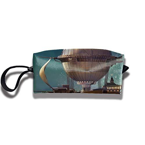 Pencil Bag Makeup Bag Steampunk Airship Fairy Stardust Space Women Cosmetic Bag Multifuncition Durable Pouch Zipper Organizer Bag
