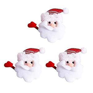 BESTOYARD Weihnachten Brosche Pins LED Licht Blinky Weihnachtsmann Kopf mit Schleifen Abzeichen Kinder Spielzeug Weihnachten Deko 6 Stück