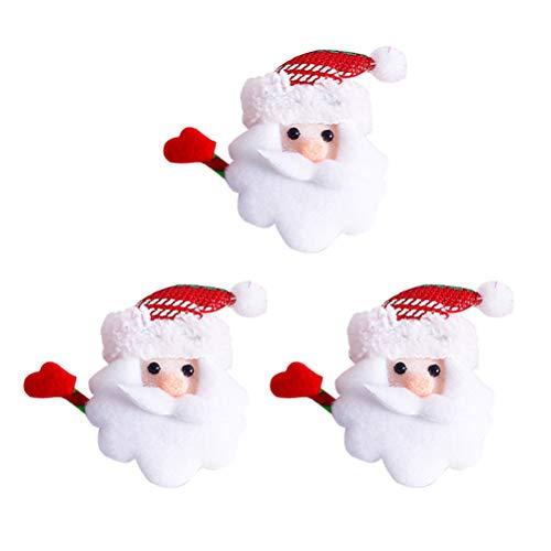BESTOYARD Weihnachten Brosche Pins LED Licht Blinky Plüsch Weihnachtsmann Brosche mit Schleifen Abzeichen Weihnachten Deko 3 Stück