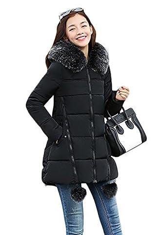 YMING Damen Daunen Baumwolle Jacke Frauen Wintermantel Mit Kapuze Winterjacke