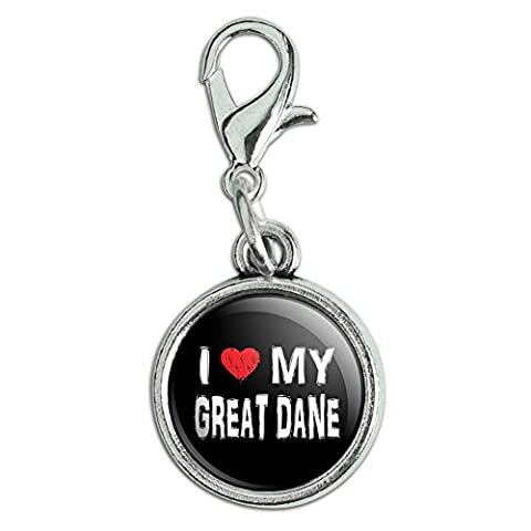 Antiqued Bracelet Pendant Zipper Pull Charm with Lobster Clasp I Love My Dog E-K - Great Dane