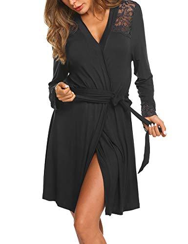 Morgenmantel Damen Kurz Bademantel Nachtwäsche Elegant Robe Pyjama Reisemantel mit Spitzen V Ausschnitt für Schwangere