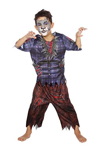 Werwolfkostüm Kostüm Werwolf Kinder Jungen Halloween Wolf Tier Karneval 116-176 Blau/Braun/Grau 116/128 (6-8 Jahre)