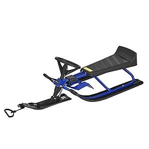 [pro.tec] Lenkschlitten Schlitten Kinderschlitten Bobschlitten Ski Bob Rodel Blau bis 68 kg