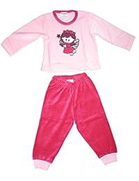 Warmer Mädchen Schlafanzug aus Velour Nicki oder Baumwolle mit karierter Flanellhose, süßes Frontmotiv, Grösse 92/98 -116/122