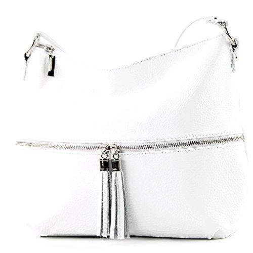 modamoda de - T159 - ital Umhänge-/Schultertasche aus Leder, Farbe:Weiß
