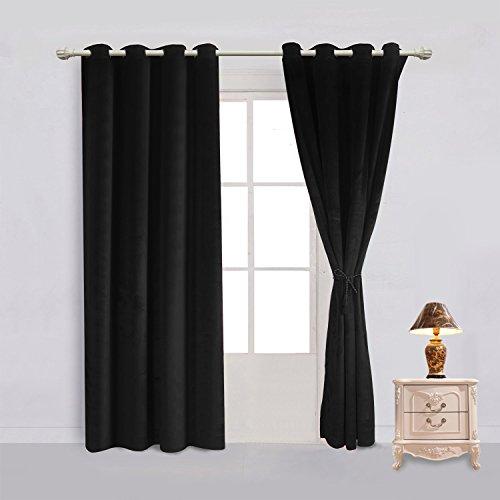 sideli massiv Tülle matt schwere Samt Vorhang Tuch Panel Blackout Super Weich in theater| bedroom| Living room| Hotel 1Stück, schwarz, 46