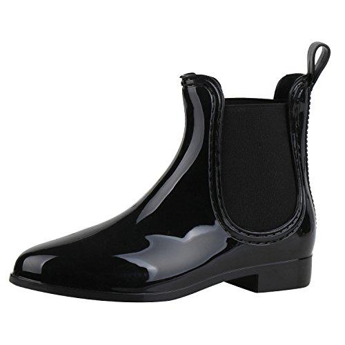 Stiefel Schwarze Kurze (Japado Damen Schuhe Lack Stiefeletten Gummistiefel Chelsea Boots Schwarz Black 35)
