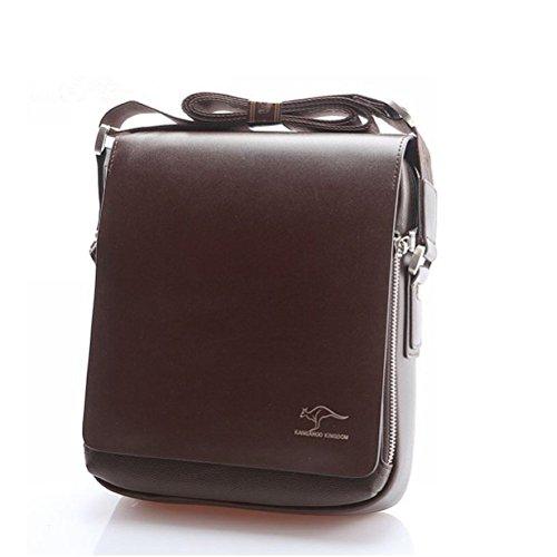 445fef95b7 Pixnor Vera pelle PU autentico canguro Unito borsa a tracolla Messenger  borse taglia M marrone maschile