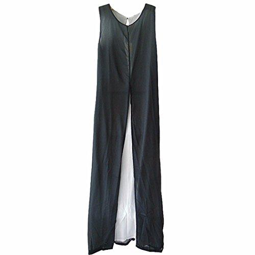 Frauen arbeiten Chiffon Sleeveless Colorblock Frontseiten Schlitz lang Maxi Kleid S / M / L / XL Schwarz-Weiss gemischte Farben