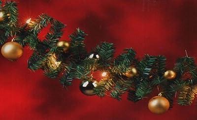 Künstliche Tannengirlande Weihnachtsgirlande Girlande 270cm 180 Spitzen + Lichterkette 20 Lampen + 16 Baumkugeln in Gold Weihnachtsdekoration von Multistore 2002 - Lampenhans.de