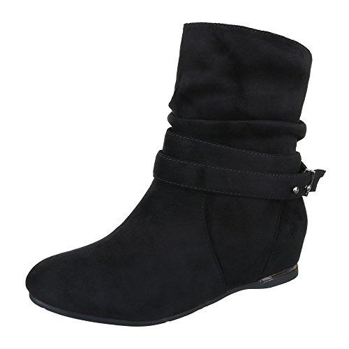 Keilstiefeletten Damen Schuhe Plateau Keilabsatz/ Wedge Keilabsatz Ital-Design Stiefeletten Schwarz