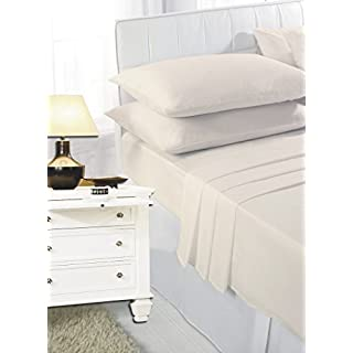 ANSS POLY COTTON FLAT BED COVER SHEET CREAM: DOUBLE