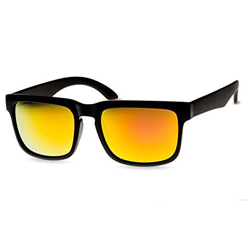 CASPAR SG018 Lunettes de soleil WAYFARER UNISEXE / avec monture givrée - plusieurs coloris tout noir/miroir doré