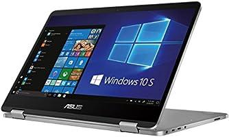 """Asus Vivobook Flip TP401NA-BZ002T PC Portable Hybride Tactile 14"""" Gris métal (Intel Pentium, 4 Go de RAM, EMMC 64 Go, Intel Graphics, Windows 10 S) Clavier Français AZERTY"""