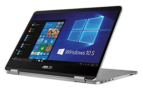 Asus Vivobook Flip TP401NA-BZ002T PC Portable Hybride Tactile 14' Gris métal (Intel Pentium, 4 Go de RAM, EMMC 64 Go, Intel Graphics, Windows 10 S) Clavier Français AZERTY