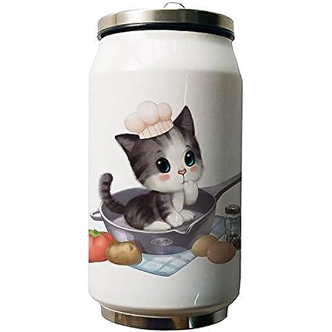 okoukiu Cute Cat Animal diseño doble vacío aislado botella de agua de acero inoxidable, 280ml