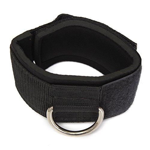 Correa de tobillo - TOOGOO(R)Zapato con cierre de anillo en D Accesorio Multi Gym cable de pierna del muslo Polea del levantamiento de pesas Negro