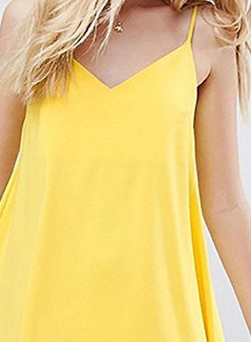 Azbro Women's V Neck Back Bow Solid Mini Dress Yellow