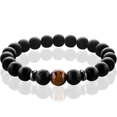 FABACH Spirituals™ Chakra Perlenarmband mit 8mm Tigerauge-Perle, Lavastein und Onyx-Naturstein (schwarz) - Yoga Armband aus 21 Heilsteinen - Energiearmband für Damen und Herren