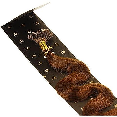 Just Beautiful Hair 60cm Micro Anello I-Stick Extensions Capelli Veri Remy Indiani, 1g, ondulata - #33 mogano, 1x200 ciocche