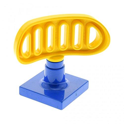 1 x Lego Duplo Antenne Radar gelb 2 x 2 drehbar Stand Fuss Base blau Flughafen Polizei Schiff Boot 9187 4376c02