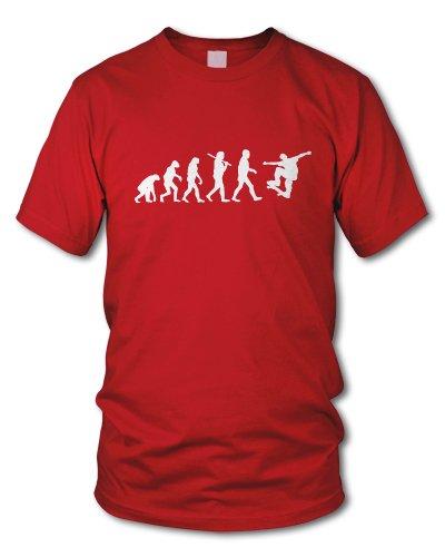 shirtloge - EVOLUTION SKATER - KULT - Fun T-Shirt - in verschiedenen Farben - Größe S - XXL Rot (Weiß)