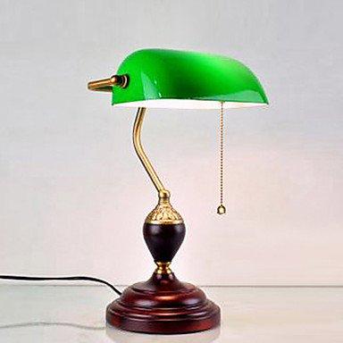 dee Complesso classica continentale Retro Light Table Con Ombra Verde Legno Lampada Stand