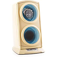 Klarstein St. Gallen Premium carica orologi automatici (per 2 orologi, 4 programmi di rotazione, vetrina trasparente, 3 modalità di rotazione, retroilluminazione blu, motore silenzioso, dimensioni ridotte) - crema