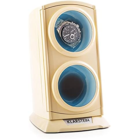 Klarstein St.Gallen Premium caja para relojes (capacidad para 2 relojes, 4 programas de rotación, motor silencioso, iluminación LED azul) -