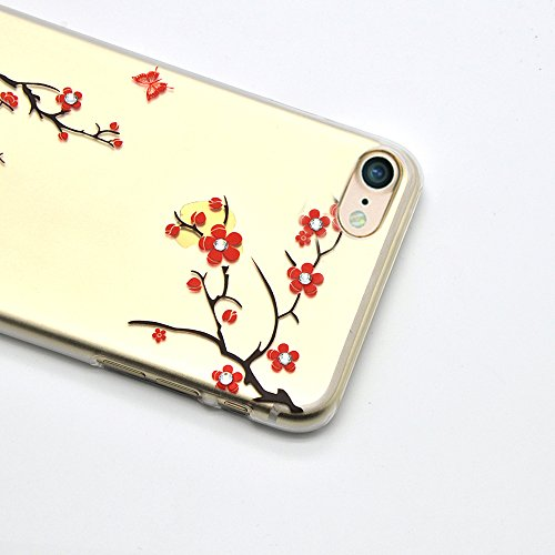 Vandot Apple iphone 7 Étui Exclusif Design Coque détachable Air Plastique Dure de PC Retour Bumper Case Cover Ultra Slim Thin 0,9 mm Matte Building Pratiques de Protection Haut de Gamme Pattern Housse YK-prune fleur