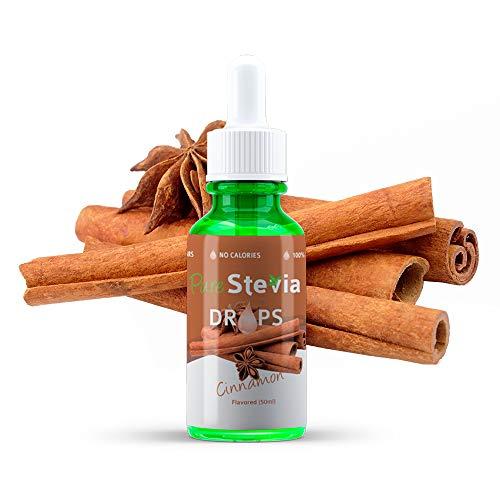 Stevia Tropfen Zimt 50ml - Flüssiger Süßstoff - Natürliche Zutaten - PureStevia
