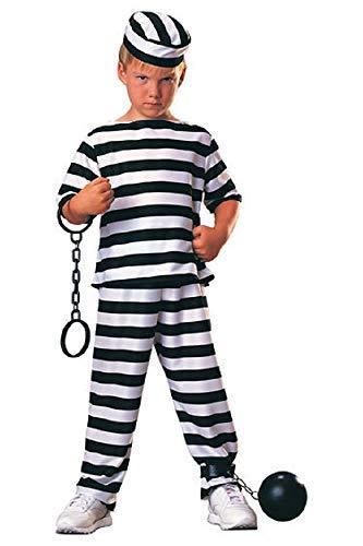 Fancy Me Jungen Mädchen Gefangene Räuber Überführen Einbrecher Bill Büchertag Halloween Kostüm Verkleiden Outfit 3-10 Jahre - Schwarz, Schwarz/weiß, 8-10 Years