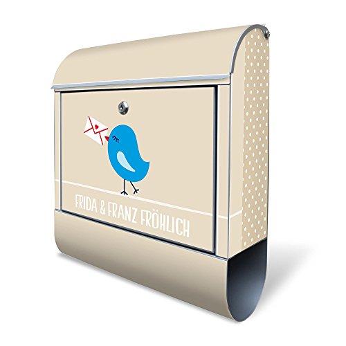Banjado Design Briefkasten personalisiert mit Motiv WT Liebesbrief | Stahl pulverbeschichtet mit Zeitungsrolle | Größe 39x47x14cm, 2 Schlüssel, A4 Einwurf, inkl. Montagematerial