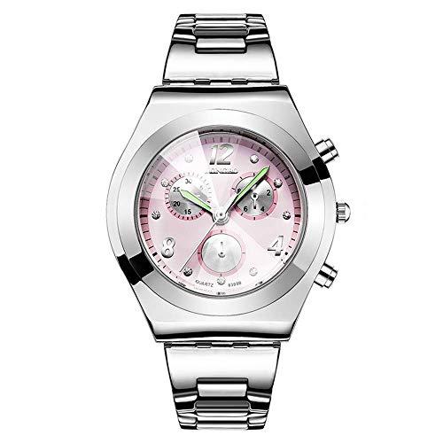 Tayhot Reloj de Cuarzo Plateado para Mujer, Esfera Rosa Casual, Reloj Luminoso, analógico, Reloj de Pulsera Resistente al Agua