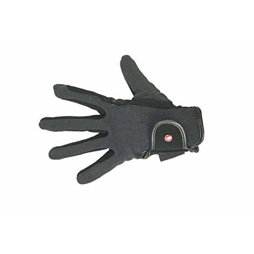 HKM PRO TEAM Damen Reithandschuhe Professional Nubuk Lederimitat Handschuhe, Schwarz/Grau, 8