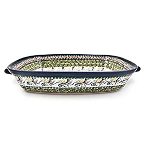 Hand-Decorated Polish Pottery Rectangular Serving Bowl with High Edge and Two Henke 49x30x8,2cm Volume 4.5Litre Design DU163