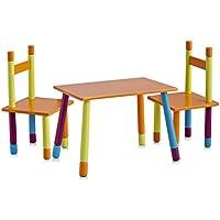 Zeller 13455 Color - Juego de mesa y sillas infantiles (tablero DM, 3 piezas, mesa: 40 x 60 x 42 cm, sillas: 28 x 28 x 53 cm)