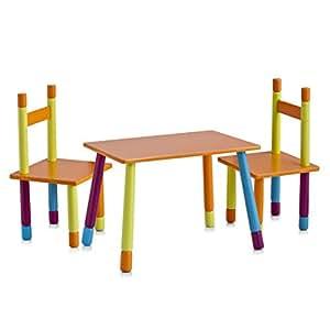 Zeller 13455 Ensemble 2 chaises et 1 table pur enfant, 40 x 60 x 42 cm / 28 x 28 x 53 cm