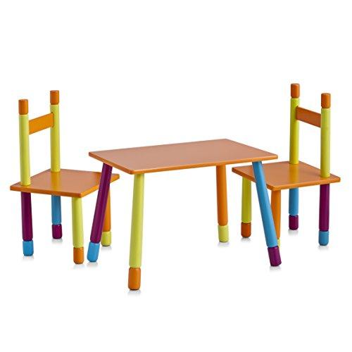 zeller-13455-color-juego-de-mesa-y-sillas-infantiles-tablero-dm-3-piezas-mesa-40-x-60-x-42-cm-sillas