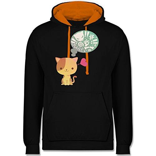 Katzen - Süße Katze Mordlust - Kontrast Hoodie Schwarz/Orange